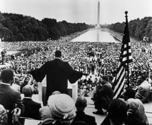 King delivers his first address to a national audience in Washington in 1957, the theme was 'give us the ballot'.