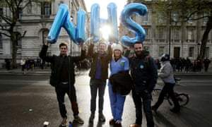 Junior doctors protest outside the Department of Health over proposed changes to their contracts.