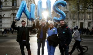 Junior doctors protesting outside the Department of Health in Whitehall