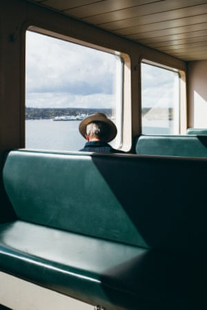 Arnaud Montagard, La Traverseé, 2017Arnaud Montagard, La Traverseé, Seattle (man on ferry) This print is from Arnaud Montagard's first monograph, The Road Not Taken. This series investigates classic visual themes of Americana and touches upon some of the ideas laid down by the Beat poets.See more in gallery https://www.theguardian.com/artanddesign/gallery/2020/jul/21/loneliest-road-trip-travels-through-an-empty-america-in-pictures