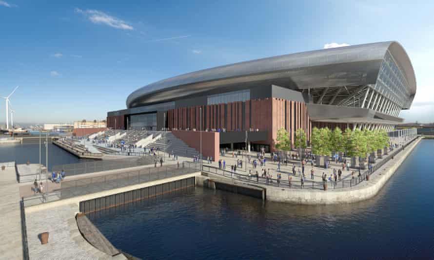 An artist's impression of Everton FC's new £500m stadium.