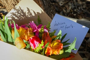 Flowers are left to Katrina Miles and her family, who were murdered in Osmington, WA last week.