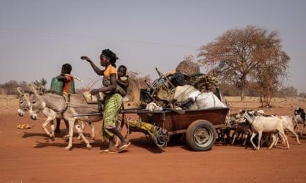 People flee jihadist and inter-community violence in northern Burkina Faso, January 2020.