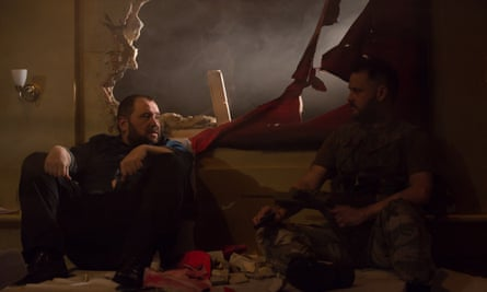 Christian Patterson and Simon Nehan in Blasted at The Other Room.