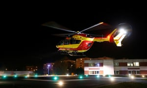 A helicopter of the French civil security is airborne after the transfer of a patient from Lyon to Strasbourg