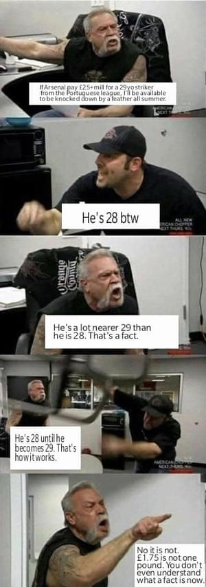 The American Chopper meme using quotes from a notorious social media row about the age of Jackson Martinez.