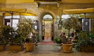 Street life: the front entrance of Al Vecchio Convento, a hotel in Portico di Romagna.