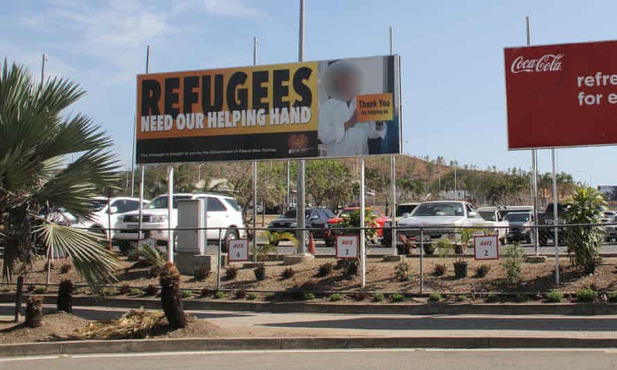 A PNG billboard in support of refugees