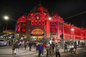 Flinders Street Station was lit up for New Year's Eve celebrations in Melbourne