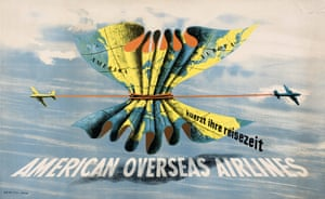 Shrinking Travel Time, poster for American Overseas Airlines, 1948 by George Him.