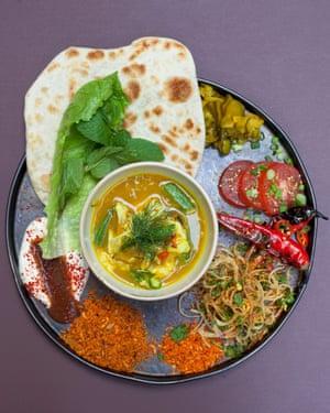 Fish head thali at Temper City, EC2: 'It's a pleasing flavour wheel.'