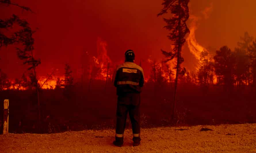 A wildfire in Sakha, Russia, on 8 August 2021.
