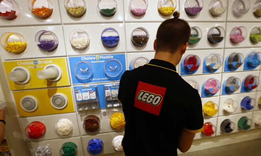 An employee at a Lego store in Paris