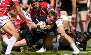 Nick Tompkins scores Saracens' sixth try in the victory over Gloucester which secured their return to Twickenham for the final.
