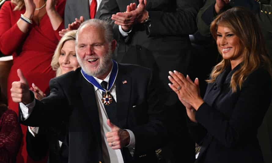 Rush Limbaugh in February last year during a ceremony in which he was awarded the Medal of Freedom by Donald Trump.