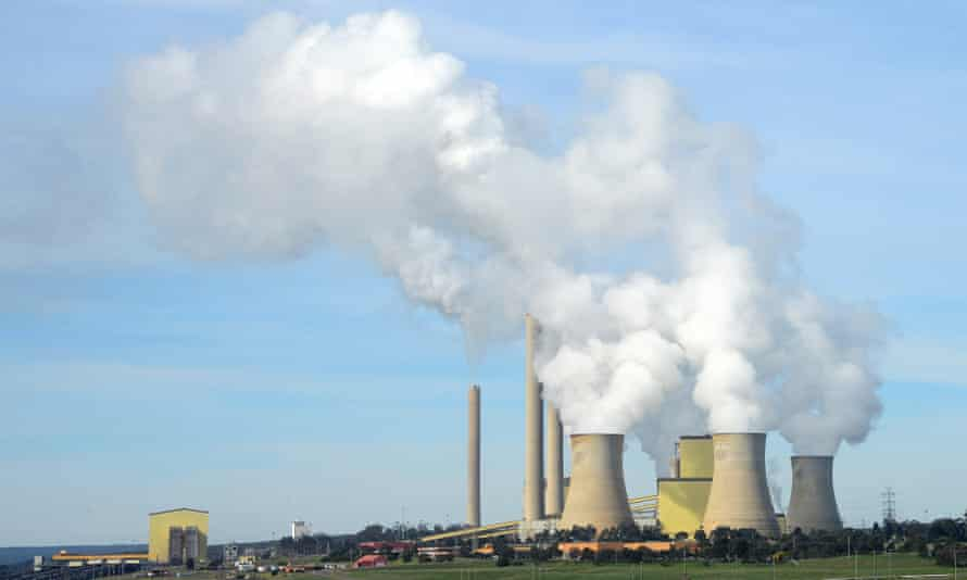 steam coming for cooling towers of coal-fired power station