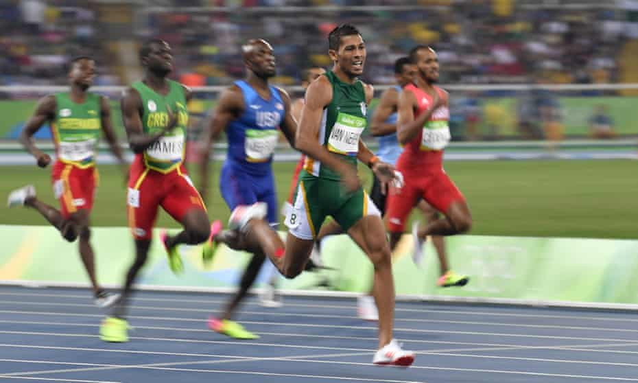 Wayde van Niekerk in action during his world record performance in the men's 400m final at the Rio 2016 Olympic Games