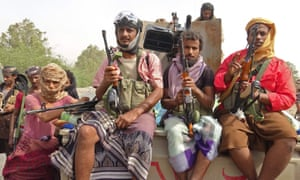 Yemeni pro-government forces gather at Hodeidah, as they battle Houthi rebels for the control of the city.