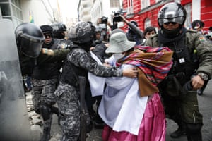 Clashes broke out between police and Morales supporters.