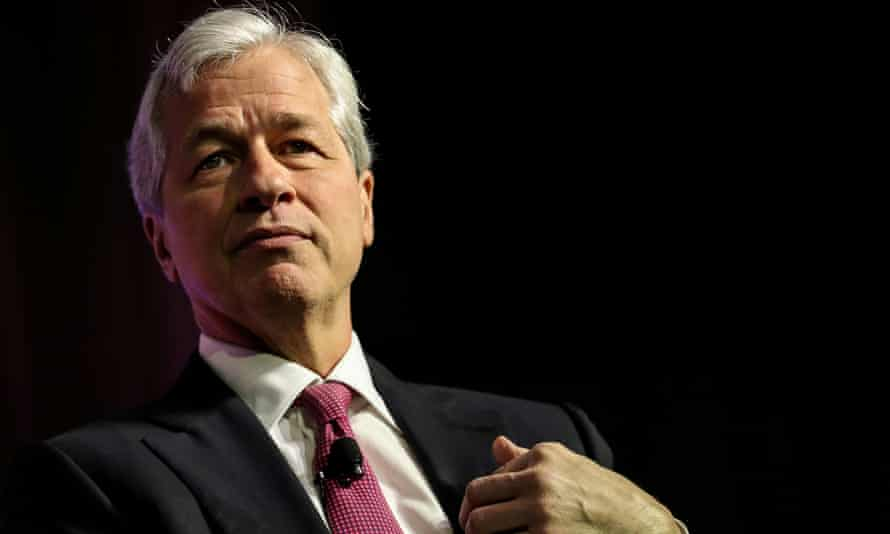 Head and shoulders shot of Jamie Dimon against a black background