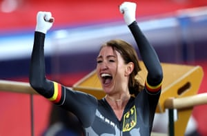 Denise Schindler of Team Germany reacts after winning Women's C1 3000m Individual Pursuit Bronze.