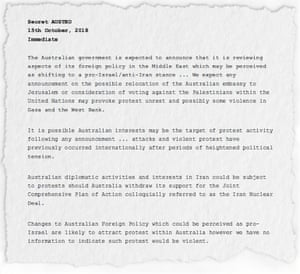 Asio bulletin marked secret about the possible relocation of Australia's embassy in Israel