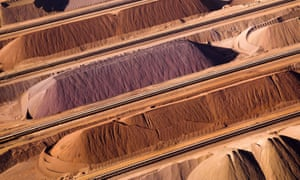 Stockpiles of iron ore