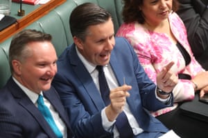 "Mark Butler holds up a toothpick in response to Energy Minister Angus Taylor saying he would take ""a big stick"" to the energy companies."