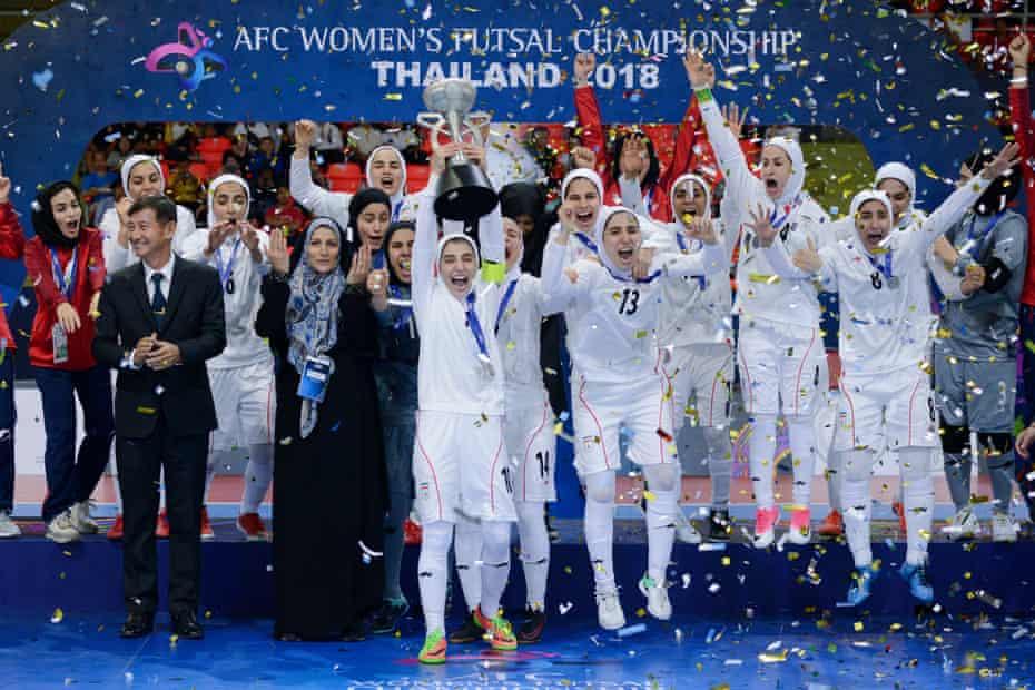 Iran's futsal team celebrate after winning the 2018 AFC Women's Futsal Championship in Bangkok.