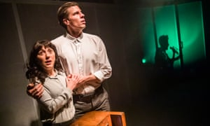 Matthew Wells (Ted) and Amalia Vitale (Lawson) in War of the Worlds by Isley Lynn at New Diorama theatre. Directed by Hamish MacDougall and Julian Spooner.