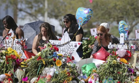 A memorial for the victims of the shooting at Marjory Stoneman Douglas High School in Parkland, Florida on 25 February 2018.