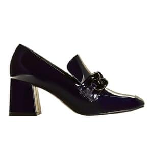 black patent heeled loafers Mango