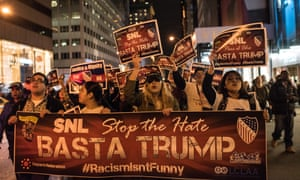 Members of Latino organizations march in protest at Donald Trump's appearance on NBC's Saturday Night Live last November.