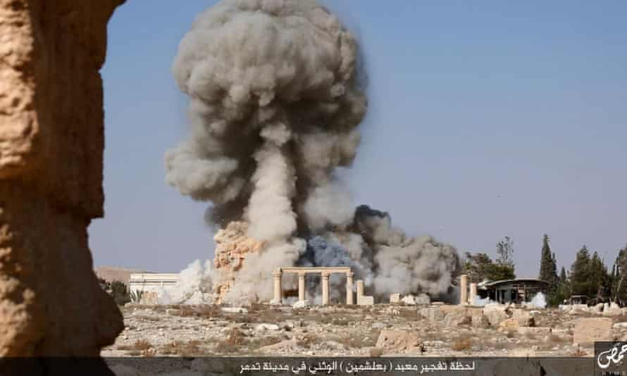 #ISIS publish pictures of the destruction of the Temple of Baal at #Palmyra #Syria