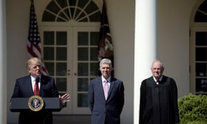 Anthony Kennedy with Trump and Neil Gorsuch in April last year. Kennedy has been the critical 'swing vote' on the court for more than a decade.