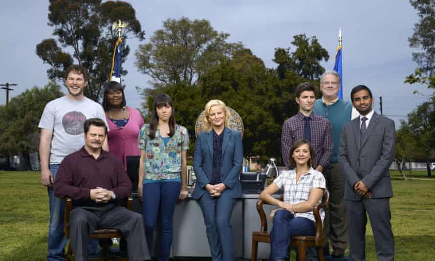 Chris Pratt, Nick Offerman, Retta, Aubrey Plaza, Amy Poehler, Rashida Jones, Adam Scott, Jim O'Heir, and Aziz Ansari in Park and Recreation.