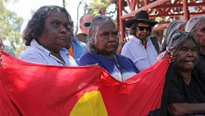 Aboriginal woman Felicity Hayes at a rally for Whitegate, the remote community with no water supply, held in Alice Springs.