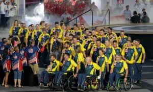 Athletes from Australia enter the stadium during the opening ceremony for the Invictus Games.