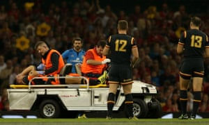 A worrying sight for Wales as their scrum-half Rhys Webb is taken off after suffering an ankle injury during the match against Italy in Cardiff.