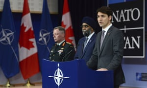 PM Justin Trudeau with defence minister Harjit Singh Sajjan and chief of defence staff Jonathan Vance at Nato at the end of May.