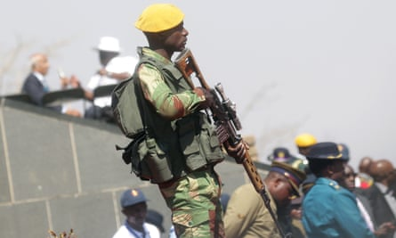 An armed member of the Zimbabwe National Army.
