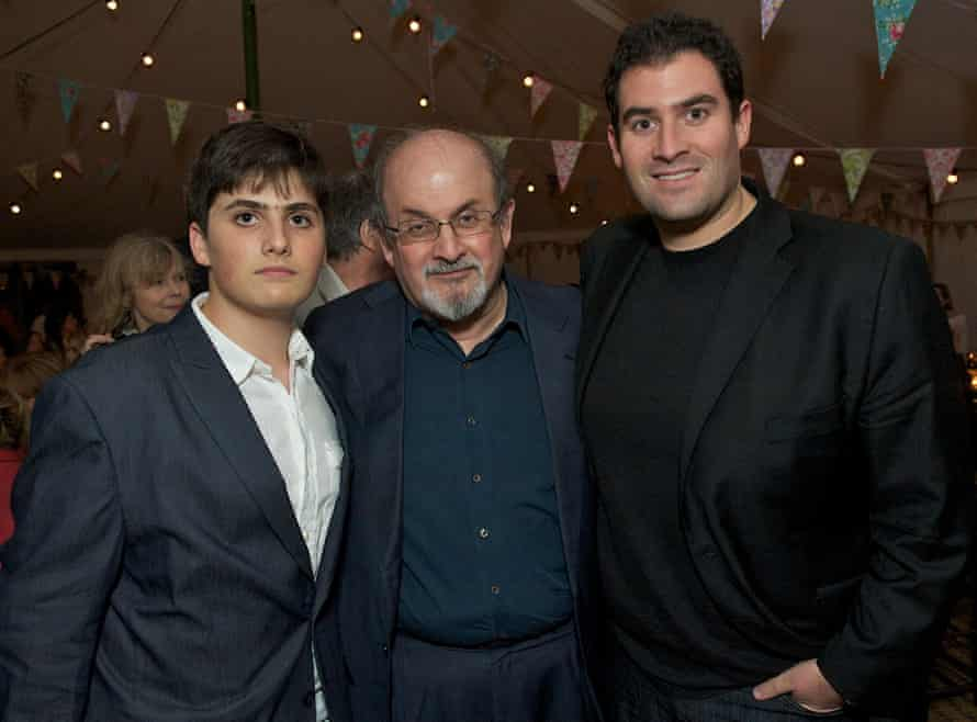 Salman Rushdie with sons Milan (left) and Zafar in 2012