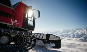 Suusamyr Lodge uses modified piste-bashers with passenger cabins to take groups of skiers to the piste.