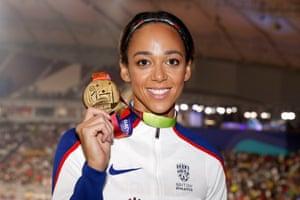 Katarina Johnson-Thompson with the Gold medal for the Heptathlon.