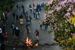 Demonstrators block a road in an anti-government protest in Medellin, Colombia.