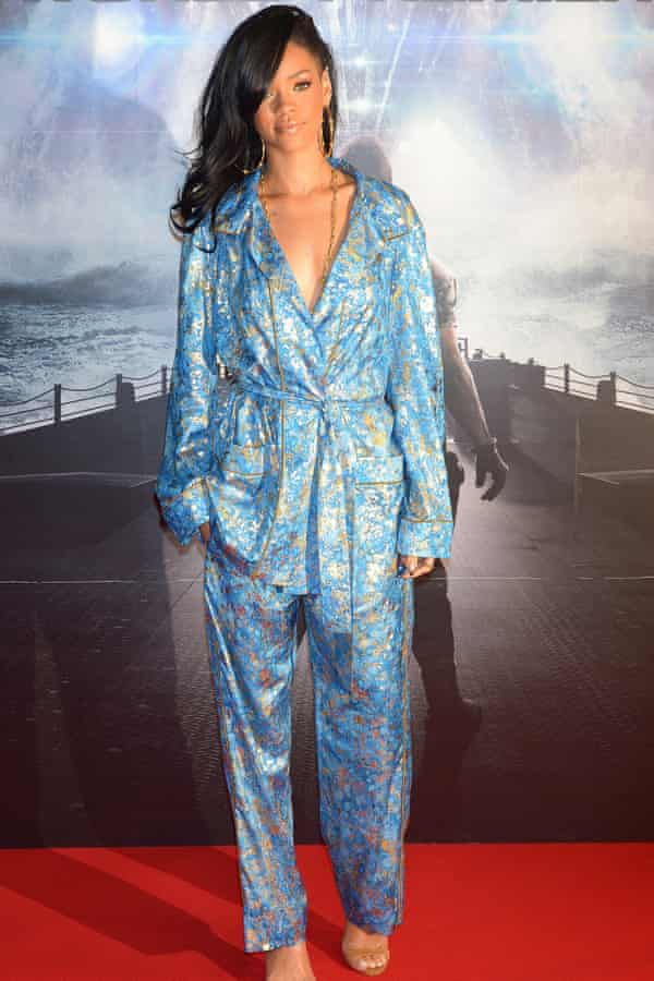 Rihanna attends the premiere of Battleship in pyjamas.
