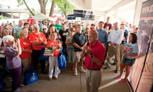 Rep. Steve King addresses a crowd in august 2011 at the Ames Straw Poll at Iowa State University in Ames, Iowa.