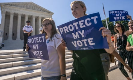 Demonstrators protest gerrymandering at the supreme court building in Washington DC.