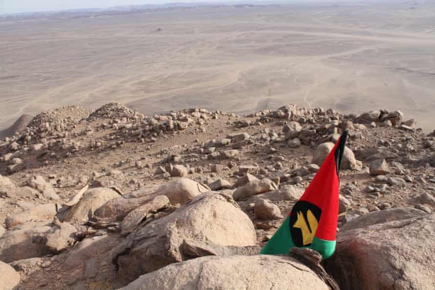 Jack Shenker's makeshift flag planted in Bir Tawil.
