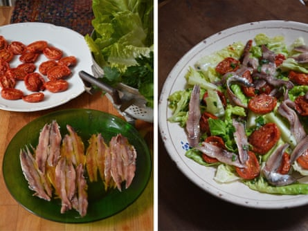 Rachel Roddy's little gem lettuce, roast tomato and anchovy salad.